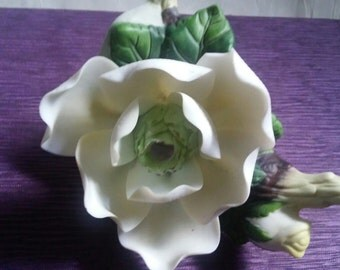 Vintage Magnolia Flower Night Light Fine Porcelain Beautifully Hand Painted