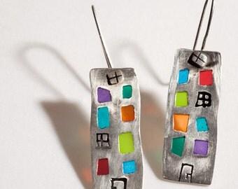 Art Earrings, Silver Hoop Earrings, Colorful Silver, Silver Boho Earrings,  Long Hoops Earrings, Small Earrings,  Festival Earrings,