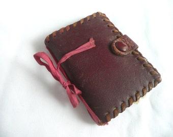 Antique needle case - leather needle case - vintage sewing accessory - vintage needle book - antique leather needle case
