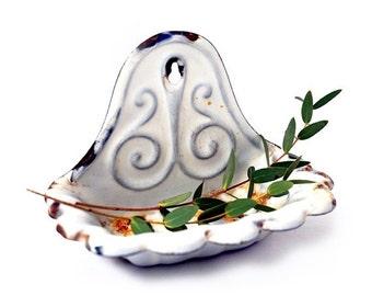 SALE Antique French Enamel soap dish, French art nouveau Enamelled Soap Dish ,Shell Shape Soap Dish