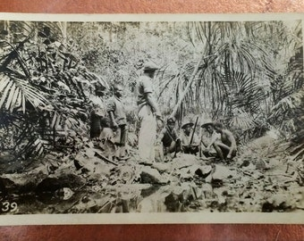Circa 1920's Jungle Photo with Nativies Expedition Image Possible Headhunters