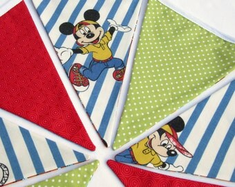 Bunting with Vintage Cartoon Fabric - Red White and Blue - Reversible