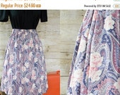 Its a steal 50 Beautiful Feminine Light Pink and Blue Floral and Paisley Print Circle Skirt Large Free Shipping!