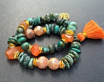 Boho Turquoise Bracelets, Stretch Tassel Bracelets, African Turquoise, Orange Carnelian, Nugget Bracelets, Stacking Bracelet Set,  1232