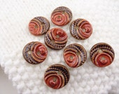 "8 red and brown buttons 17 mm 3/4"" - ceramic buttons - 17 mm buttons - little brown buttons - handmade buttons"