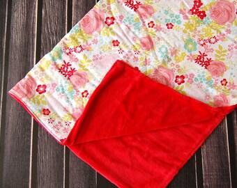 Sale Cottage Rose Shabby Chic Modern Baby Toddler Minky Blanket