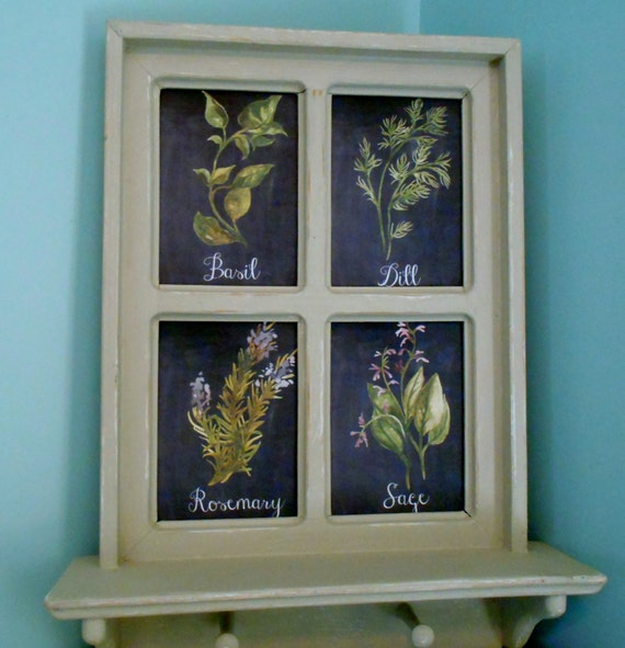 Kitchen Art Herbs: Framed Herb Art Kitchen Art Basil Dill Rosemary And Sage