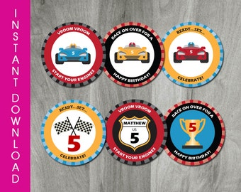 Self Editable Race Car Cupcake Toppers, INSTANT DOWNLOAD, Go Kart Party Circles, Birthday Tag, Printable, Digital Pdf File