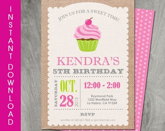 Cupcake Invitation, Self Editable, Instant Download, 5x7, Party Printable, Personalize, Double Sided, Diy, Girl Birthday Party, Pink Cupcake