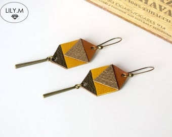 Earrings, Geometric Leather, Yellow and bronze ASTERIA, Lily.M