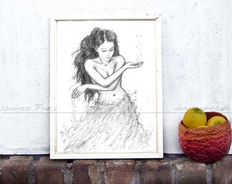 Fine Art Print WATER. Pencil Drawing Wall Art in black and white.