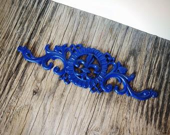 BOLD royal cobalt blue flourish fleur de lis wall art // shabby chic french country vintage // rustic home decor
