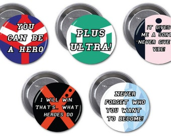 "My Hero Acadamia  2 1/4"" pinback buttons"