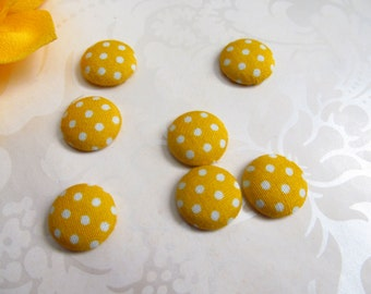 Yellow Fabric Covered Buttons / Yellow Polka Dot Flatback  Buttons / 15mm