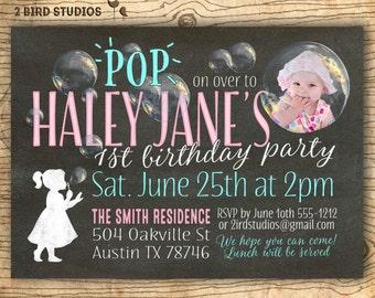 Bubble invitation - 1st Birthday bubble party invitation - First birthday - girls birthday party invite - Chalkboard you print summer