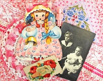 Vintage Supplies*Little Miss Muffet Inspiration Kit*Photos .. Dollies.. Lace..Hanky