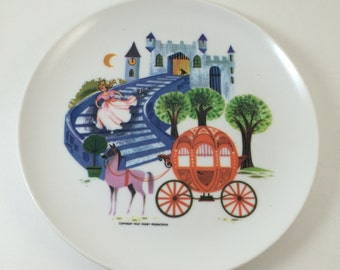 Cinderella plate Disneyland Melmac 1960s Walt Disney Productions glass slipper horse and carriage