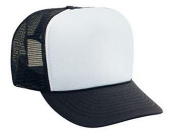 Custom Vinyl Black And White Foam Trucker Mesh Back Hat Snapback