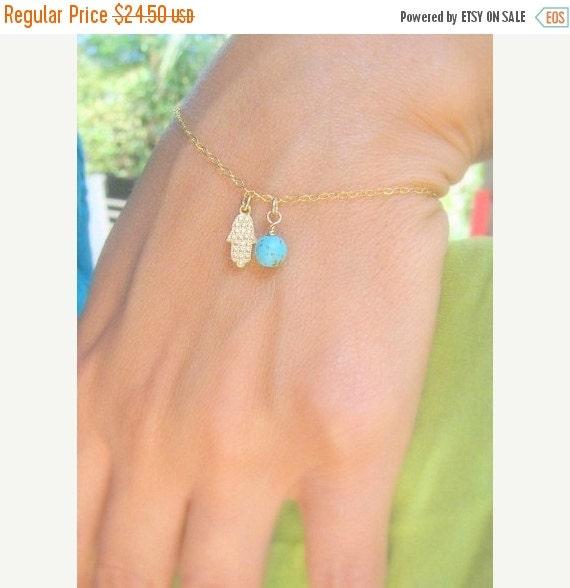SALE - Tiny hamsa bracelet - Gold hamsa bracelet - Turquoise bracelet - Delicate Hamsa bracelet - Dainty blue bracelet