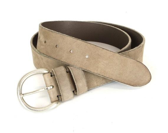beige aged leather belt 4cm mens leather belt womens