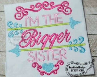 Sibling shirt - Biggest Sister - Big Sister - Embroidery gift - Baby gift - Customizable 22