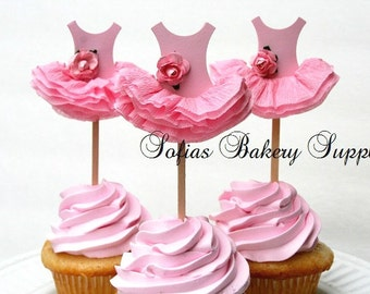 6pc set Rose Ballerina cupcake toppers ballet tutu