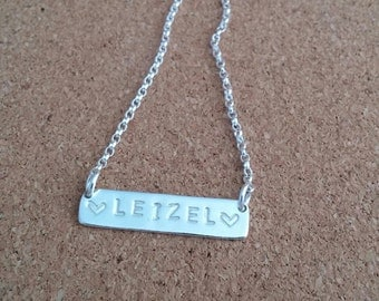 Bar Name Necklace, Personalized Name Pendant, Silver Personalized Necklace, Bar Nameplate, Bridesmaid Gift, New Mum Necklace
