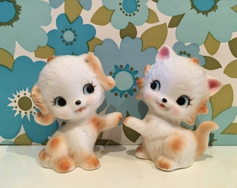 Vintage Kitsch Cat and Dog Cute China Figures Kawaii