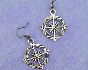 Compass Earrings, nautical earrings, compass, direction, nautical jewelry, compass jewelry, nautical, sailing, ship, pirate, silver earrings