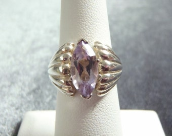 Sterling Silver Marquise Amethyst Ring Sz 6 R219