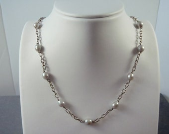 Sterling Silver Grey Pearl Necklace N4