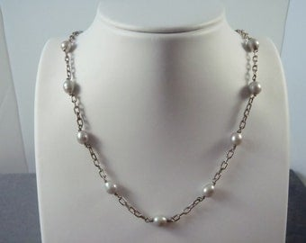 Sterling Silver Gray Pearl Necklace N4