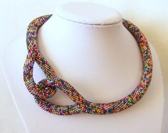 Beaded Crochet Knot Mosaic Rope Necklace - Beadwork necklace - shiny sparkling necklace - modern necklace - statement necklace
