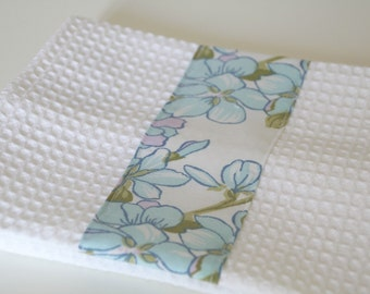 Kitchen towel  white and blue , vintage towel, cotton fabric