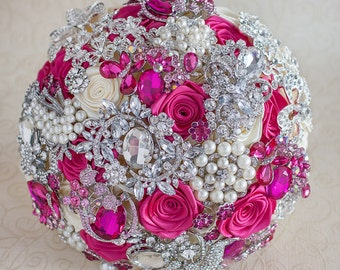 Brooch bouquet. Hot Pink, Ivory and silver wedding brooch bouquet, Jeweled Bouquet.