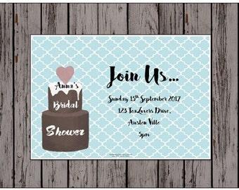 "PRINTABLE CUSTOM INVITATIONS - Watercolour ""Chocolate Cake "" - Customize Print High Tea Bridal Tea Baby Shower Invitations"