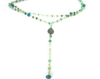 Pave Diamond Chrysoprase Y necklace, diamond chrysoprase turquoise double strand pendant, mothers day, bohemian hippie lariat layering yoga,