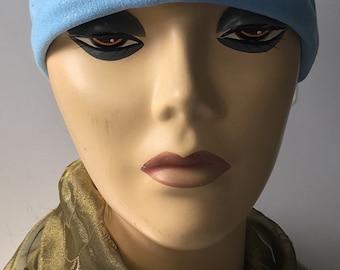 Sparkling Light blue hat liner sleep cap chemotherapy scarf