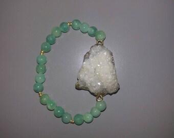 Mint and white crystal bracelet