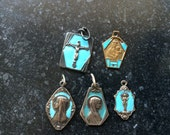 5 antique turquoise silver religious  Mary Maria medals