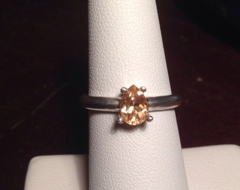 Hessonite Garnet Ring Pear Shape Solitaire Engagement Ring Promise Ring Satin Finish Size 7