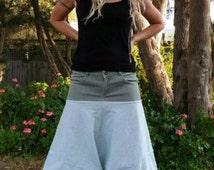 Boho Festival Pants- grey waistband, Green and White striped. Size 12.
