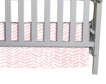 Flat Crib Skirt in Pink Herringbone fabric, You pick 3 or 4 sided skirt.  Always FREE shipping in Continental US!