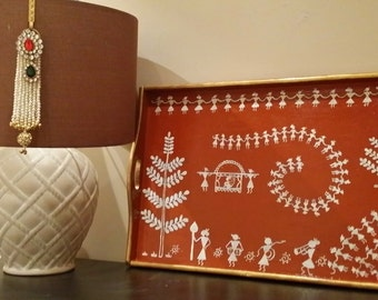 Hand painted Wooden Warli Tray