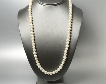 Long Pearl Necklace, Freshwater Cultured Pearl Necklace, Gifts for Her, Under 50 Dollars, Anniversary Gift for My Wife