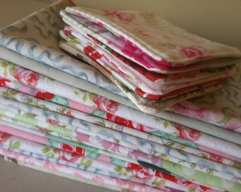 Tea Party Shabby Chic Cloth Napkins + Coordinating Reversible Fabric Coasters, Set of 8, by CHOW with ME