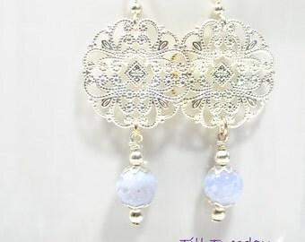 Silver Earrings Blue Silver Earring Blue Lace Agate Gemstone 2 inch Handmade Earrings Lever Back or Sterling Silver