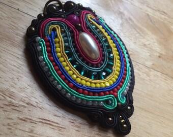 Handmade soutache pendant. Vegan friendly.