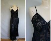 Sale Vintage Lingerie / Vintage Nightgown / Victorias Secret Lingerie / 1980's Sheer Gown / Black Burnout Lingerie M