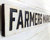 """FARMERS MARKET Sign - 55"""" Carved in a Cypress Board Rustic Distressed Shop  Farmhouse Style Wooden Produce Primitive Garden Gift"""